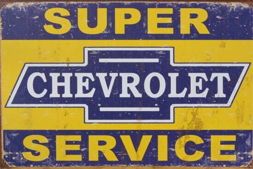 Placa Decorativa Retro Carros Chevrolet Super Service PDV045