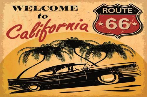 Placa Decorativa Vintage Carros Welcome to California Route PDV210