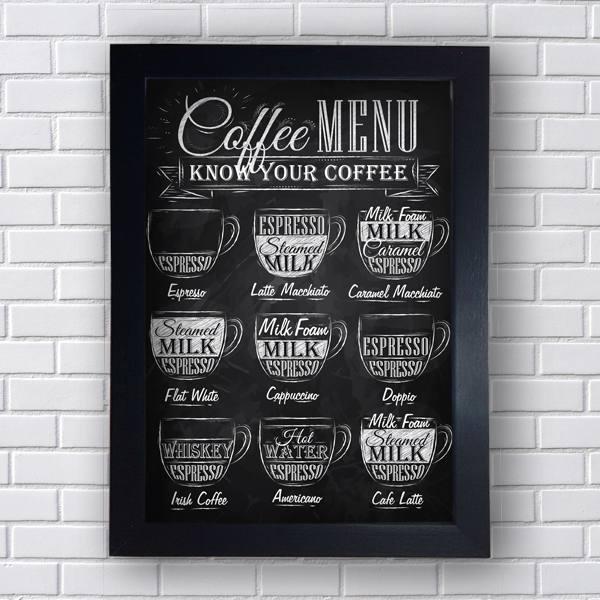 Quadro Decorativo de Frases Coffee Menu