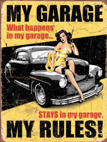Placa Decorativa Vintage Retro Woman My Garage PDV171