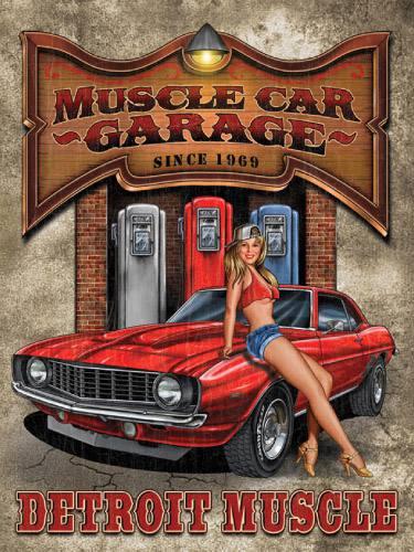 Placa Decorativa Vintage Retro Woman Muscle Car PDV187