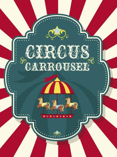 Placa Decorativa Retro Circus Carrossel PDV061