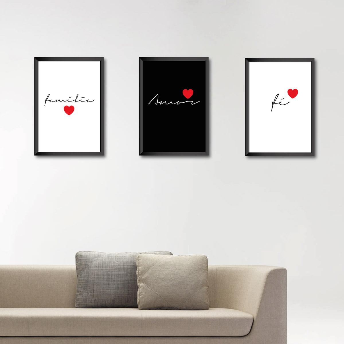 Kit Conjunto 3 Quadros Decorativos Família Amor e Fé