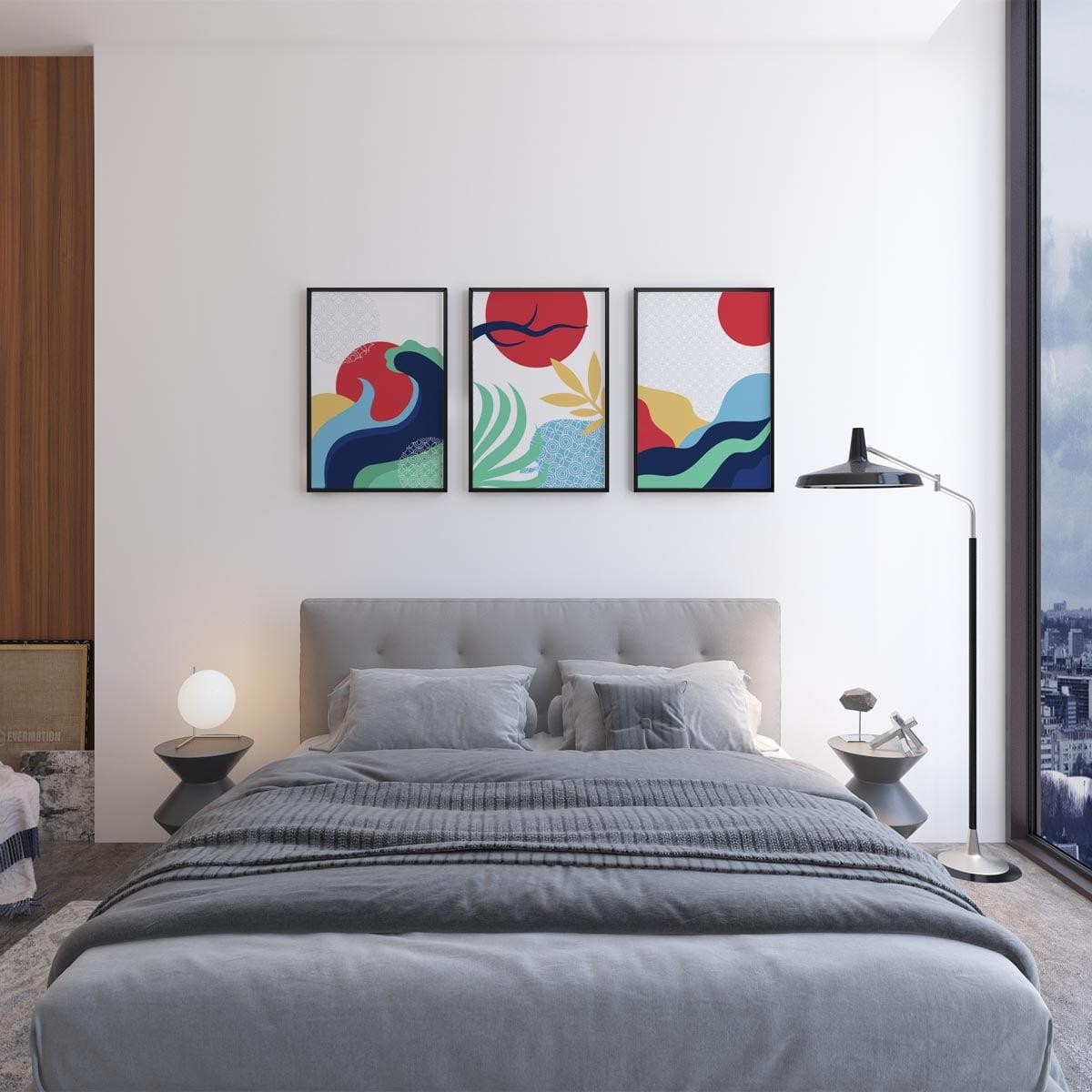 Kit De Quadros Decorativos Quarto Sala Minimalista Paisagem Abstrata