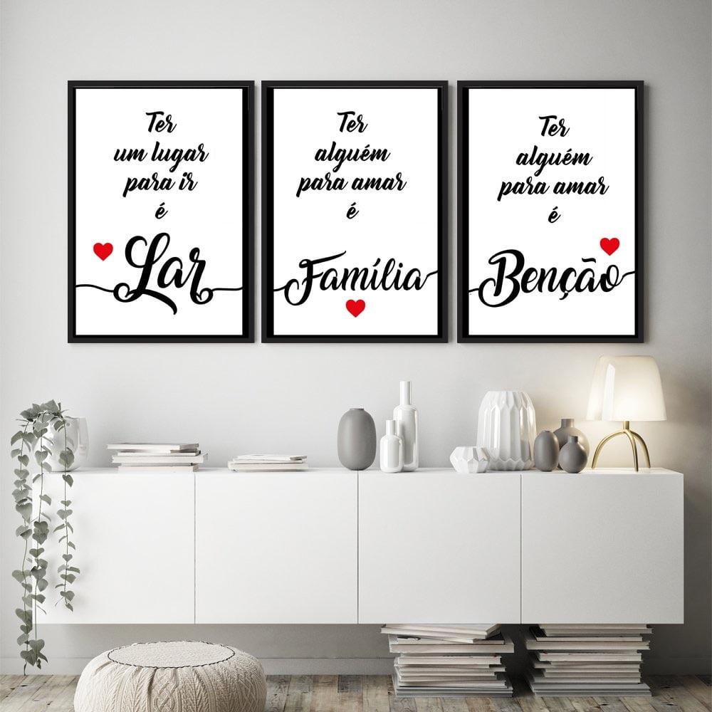 Kit Quadros Decorativos Frases Lar Família Benção Sala Quarto