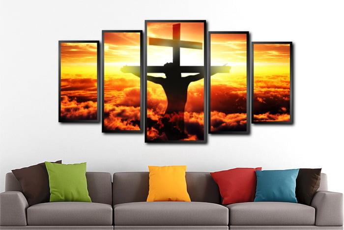Conjunto Quadro Cristo na Cruz