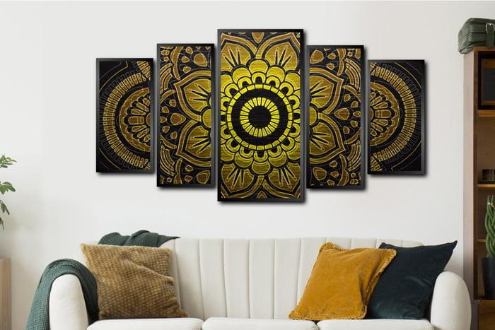 Conjunto Mosaico Quadros Decorativos Mandala