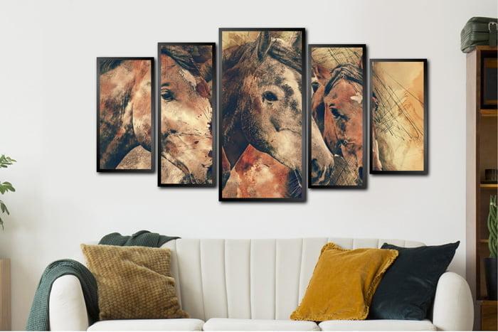 Conjunto Quadros Cavalos