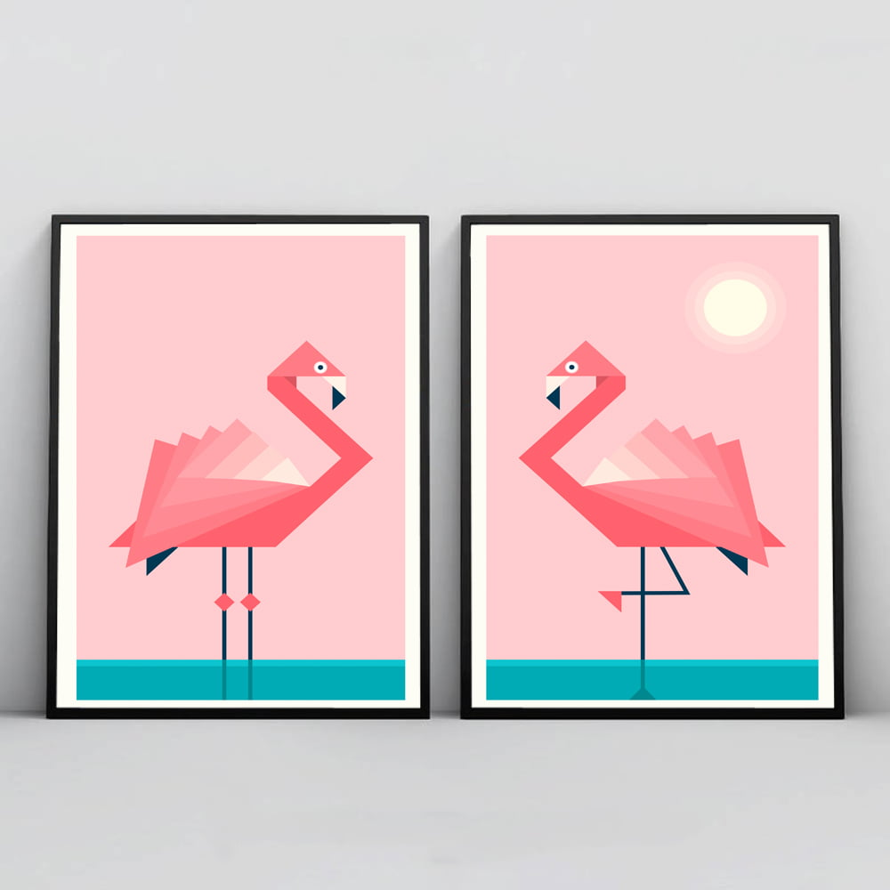 KIT 2 QUADROS PARA SALA ROSA FLAMINGOS