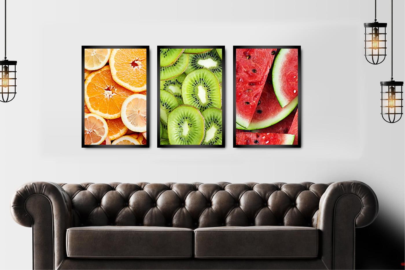 Kit 3 Quadros Decorativos Frutas