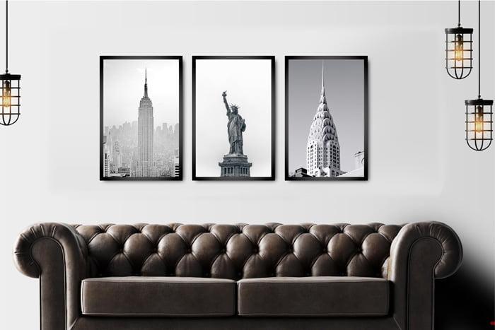 Kit Quadros Decorativos para Sala Nova York Preto e Branco