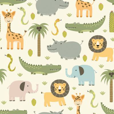 Papel de Parede para quarto infantil safari