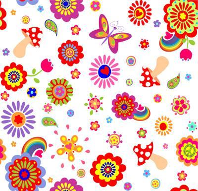 Papel de Parede Florzinhas coloridas infantil
