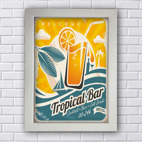 Quadro Vintage Tropical Bar
