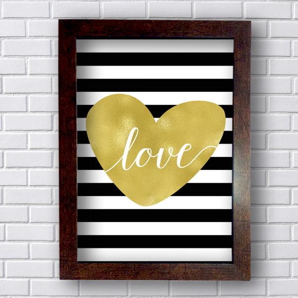 Quadro Decorativo Coração Escrito Love