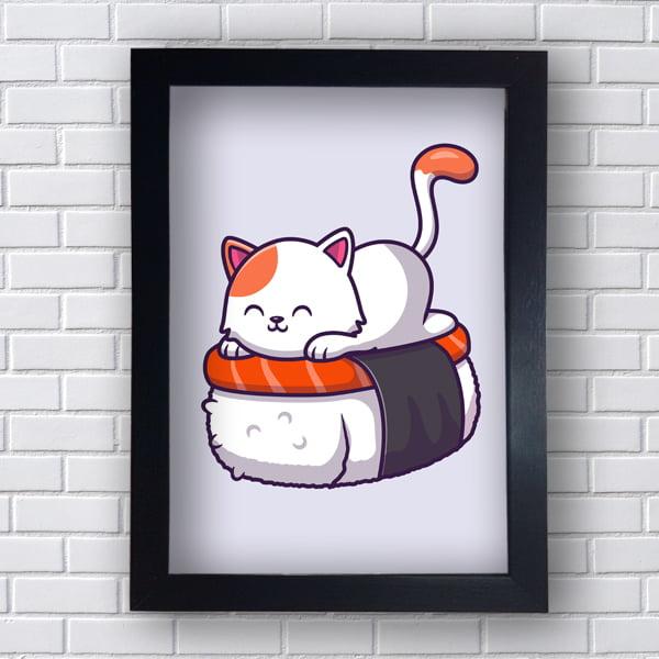 Quadro Decorativo gatinho sushi