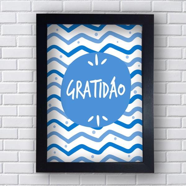 Quadro Decorativo GRATIDÃO AZUL