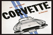 Placa Decorativa Vintage Carros Corvette 1958 PDV213