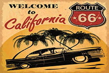 Placa Decorativa Vintage Carros Welcome to California Route PDV210