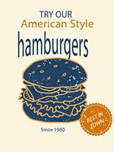 Placa Decorativa Vintage Retro American Style Burger PDV085