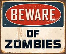 Placas Decorativas Frases Ingles Beware of Zoombies PDV312