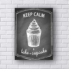 Quadro Decorativo Keep Calm and Take Cupcake