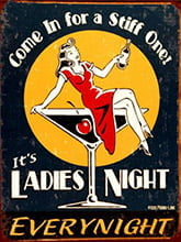 Placa Decorativa Vintage Retro ladies Night PDV147