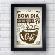 Placa Quadro Decorativo Bom dia com uma pitada de fé e uma dose de café