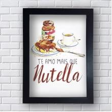Placa Quadro Decorativo Te amo mais que Nutella