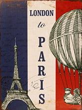 Placa Decorativa Vintage Retro Poster London to Paris PDV120
