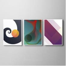 Conjunto De Quadros Decorativos Arte Abstrata Geométrico Quarta Sala