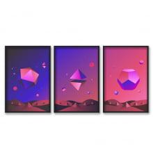 Conjunto De Quadros Decorativos Moderno Espaço Colorido