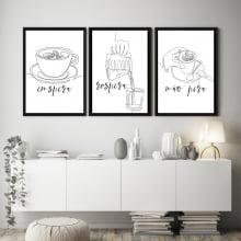 Conjunto Quadros Decorativos Café Inspira Respira Não Pira