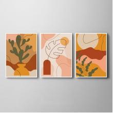Kit Quadros Decorativos Arte Abstrato Folhas Cacto Cores Quentes Sala