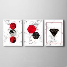Kit Quadros Geométricos Losango Diamante Vermelho Sala