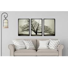 Kit 3 Quadros Decorativos para Sala Quarto Árvores Secas