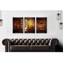 Trio de Quadro Leão de Judá Colorido Decorativo Sala