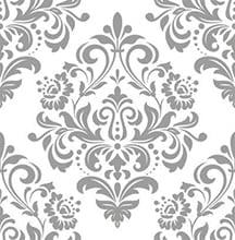 Papel de Parede Arabesco Cinza com fundo branco suave