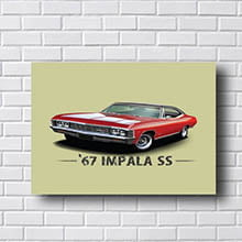 Quadro Vintage Impala Vermelho