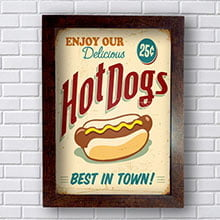 Quadro Decorativo Hot Dogs Best In Town