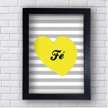 Quadro  Decorativo Fé Com Coração Amarelo