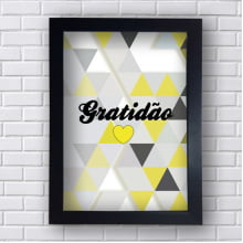 Quadro Decorativo Gratidão Triângulos