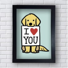 Placa Quadro Decorativo Dog I Love You
