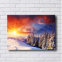 Quadro Decorativo Por do Sol  na Neve