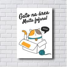 Quadro Decorativo gato na área muita fofura
