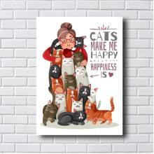 Quadro Decorativo CATS MAKE ME HAPPY