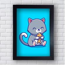 Quadro Decorativo gatinho e o brinquedo peixe