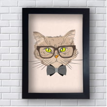 Quadro Decorativo gatinho intelectual