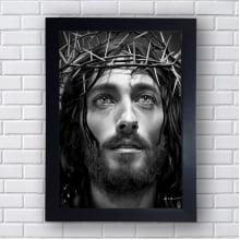 Quadro Decorativo JESUS CRISTO PRETO E BRANCO