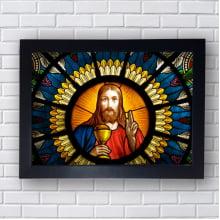 Quadro Decorativo VITRAL Jesus Nazareno Reis dos Judeus